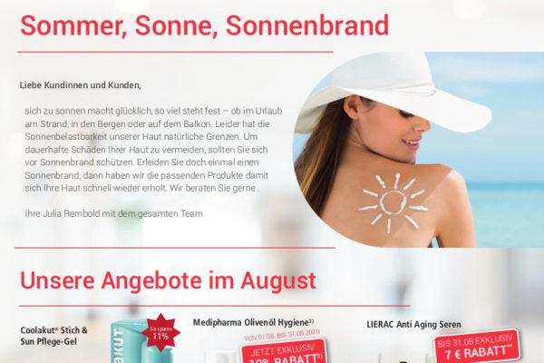 Sommer, Sonne, Sonnenbrand – Angebote im August 2020